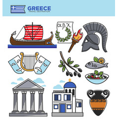 greece travel tourism landmark symbols and greek vector image vector image