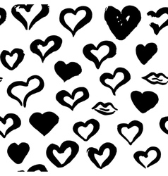 Grunge brush hearts seamless pattern vector