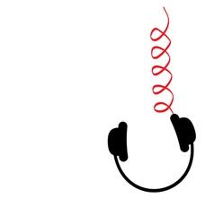 Hanging black headphones red spring cord music vector