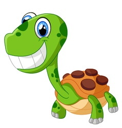 Happy cartoon turtle isolated on white vector image