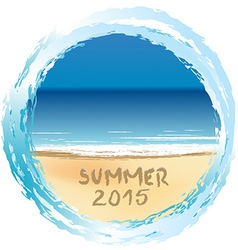 Holiday card with Summer 2015 written on sandy vector image