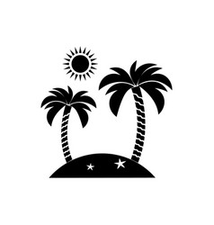 Island icon travel tourism sun and palm vector