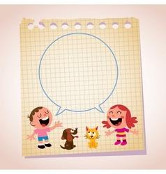 Kids speech bubble note paper cartoon vector