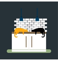 Kitchen cats and furniture interior flat style vector