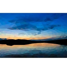 Low poly sunset on the lake vector image vector image