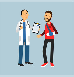 male doctor giving recommendations to the patient vector image vector image