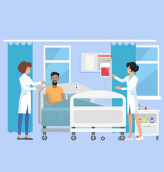 nurses caring for patient on vector image