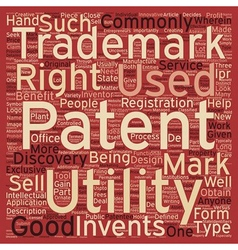 Patent trademark text background wordcloud concept vector