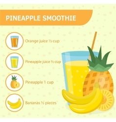 Pineapple smoothie recipe with ingredients vector