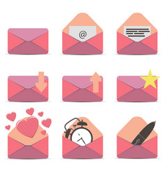 pink envelope icon email white contact message vector image vector image