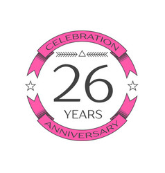 Realistic twenty six years anniversary celebration vector