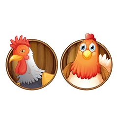 Rooster and hen on wooden badge vector image vector image