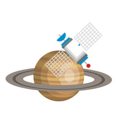 Saturn planet with satellite vector