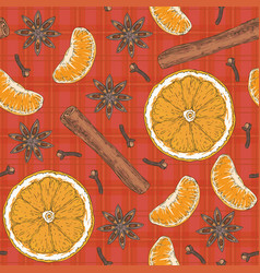 seamless pattern orange slices tangerine spices vector image
