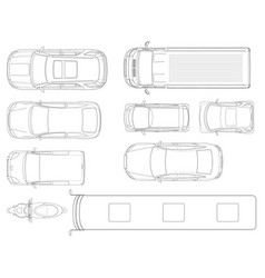 set of cars top view in outline set of vector image