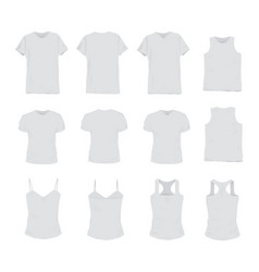 set of different realistic white t-shirt for man vector image vector image