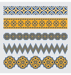 Set of pixel ethnic seamless border ornament vector