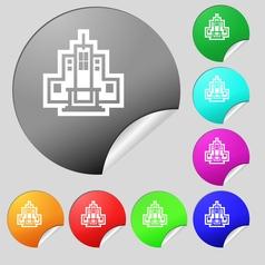 skyscraper icon sign Set of eight multi colored vector image vector image