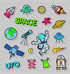 space ufo robots and aliens badges patches vector image