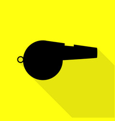 whistle sign black icon with flat style shadow vector image vector image