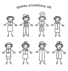 Woman occupations set vector image vector image