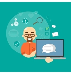 Social media banner Man with laptop vector image