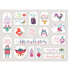 Christmas gift tags set hand drawn style vector