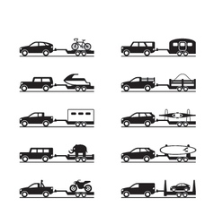 Vans and pickup trucks with trailers vector image