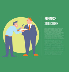 Business structure banner with business people vector