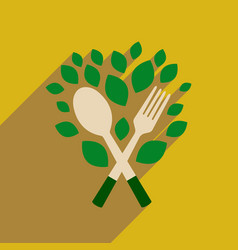 flat web icon with long shadow eco cutlery vector image