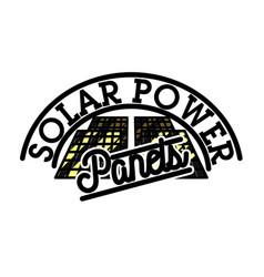 Color vintage solar panels emblem vector