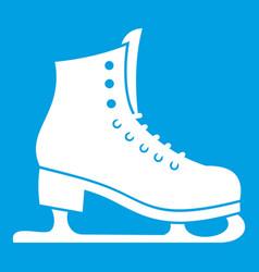 skates icon white vector image