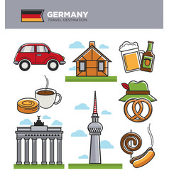 Germany travel tourism landmark symbols and vector
