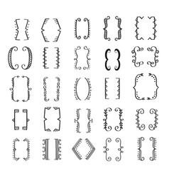 hand drawn bracket big set vector image