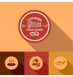 Flat pikelet confectionery design vector