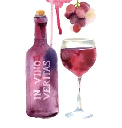 Watercolor wine set vector