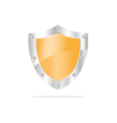 3d yellow security shield on a white background vector