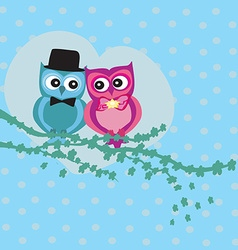 Cute owl couple in love vector