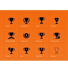 Trophy award icons on orange background vector