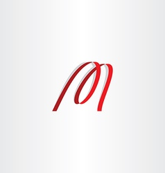 Red ribbon letter m logo icon vector