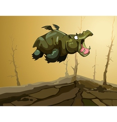 Cartoon fairy flying hippopotamus with wings vector