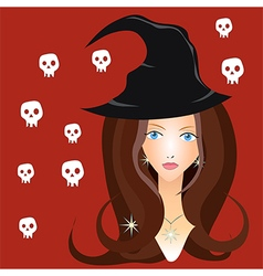 Beautiful witch in black hat vector
