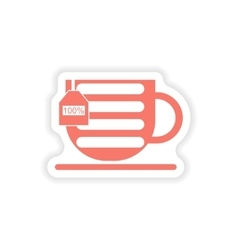 Paper sticker on white background mobile cup vector