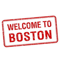 Welcome to boston red grunge square stamp vector
