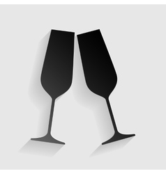 Sparkling champagne glasses black paper with vector