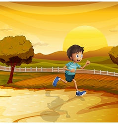 A boy running in the farm vector image vector image