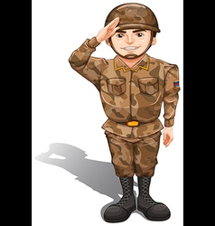 A soldier demonstrating a hand salute vector