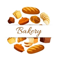Bakery poster with wheat and rye bread vector