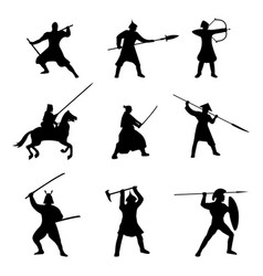 Big set of warriors silhouette on white background vector