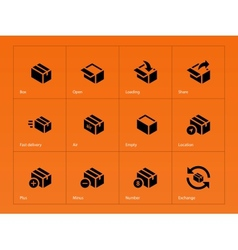 Box icons on orange background vector image vector image